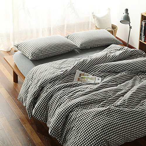 YIweNi Table 4 piece set _Bed 4 piece simple 1.5/2.0/1.8m double solid color wash cotton raw sleep, floating wooden bed linens, Small Format, 2.0 (4 piece)