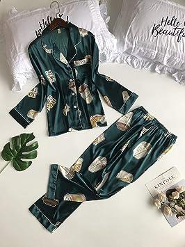 32095e2866 AHSXL Pijama Conjunto Pijamas de Manga Larga de Seda para Mujer Conjuntos  Pantalones Satén Delgado Ropa de Dormir Suelta Suelta 2 Piezas