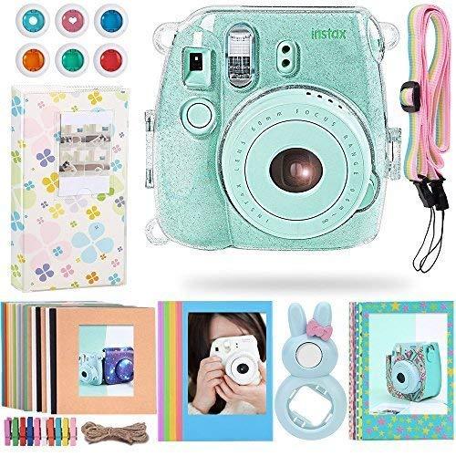 Katia Instant Camera Accessories for Polaroid Fujifilm Instax Mini 9 or Mini 8 Instant Film Camera- 8 in 1 Bundle – Clear Glittery