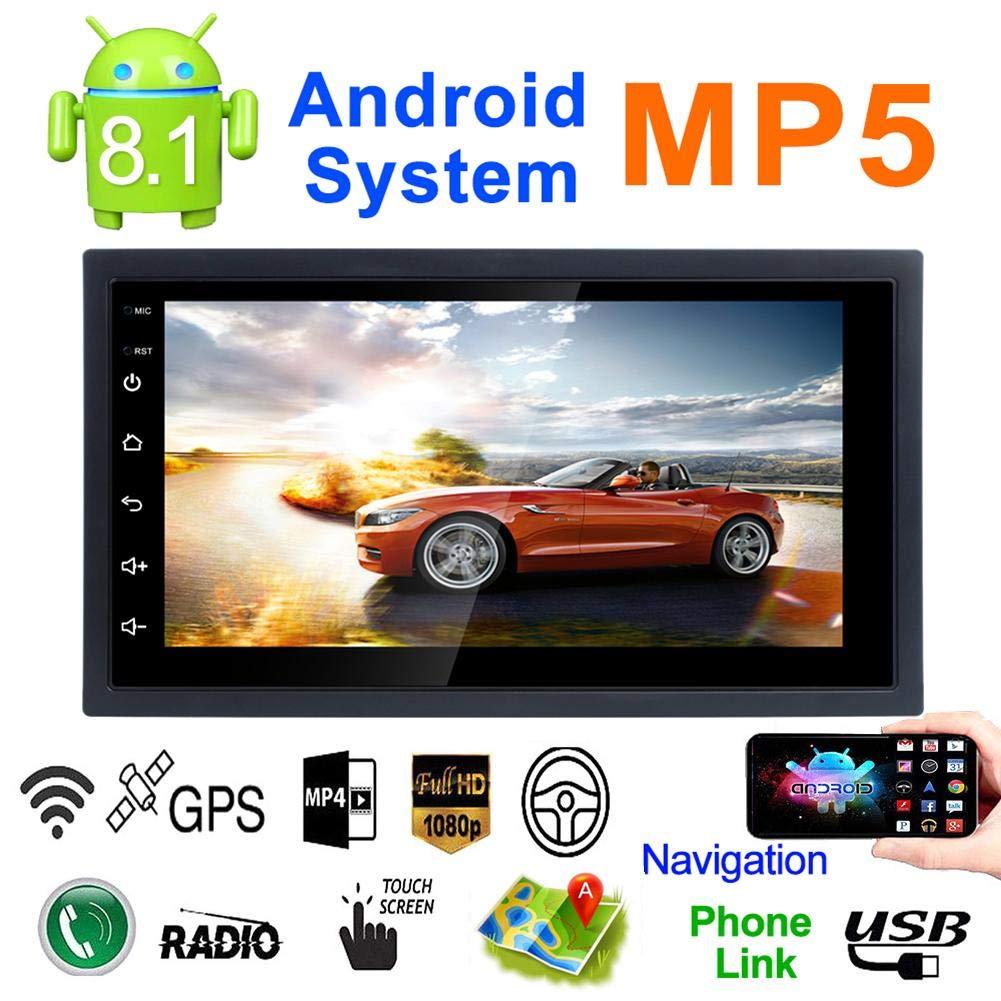 7'' Double DIN Android8.1MP5 CarMultimediaPlayer GPSNavigator SteeringWheel Control FM/AMRadioWiFiBluetooth Hand-Free CallsDualUSBFast Charging HD Rear View Camera Mirror Link