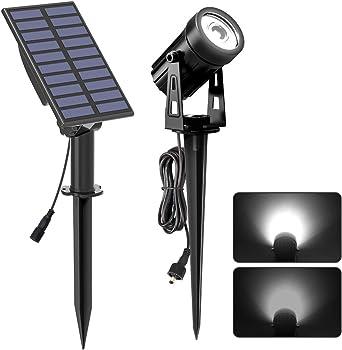 T-SUNRISE - Foco LED solar para jardín, entrada y salida automática, impermeable, luz solar para exteriores, jardín, entrada, camino, área de piscina (blanco 6000 K): Amazon.es: Iluminación