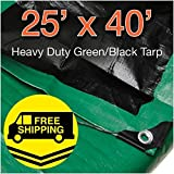 Super Heavy Duty Green/ Black Poly Tarp 25' x 40'