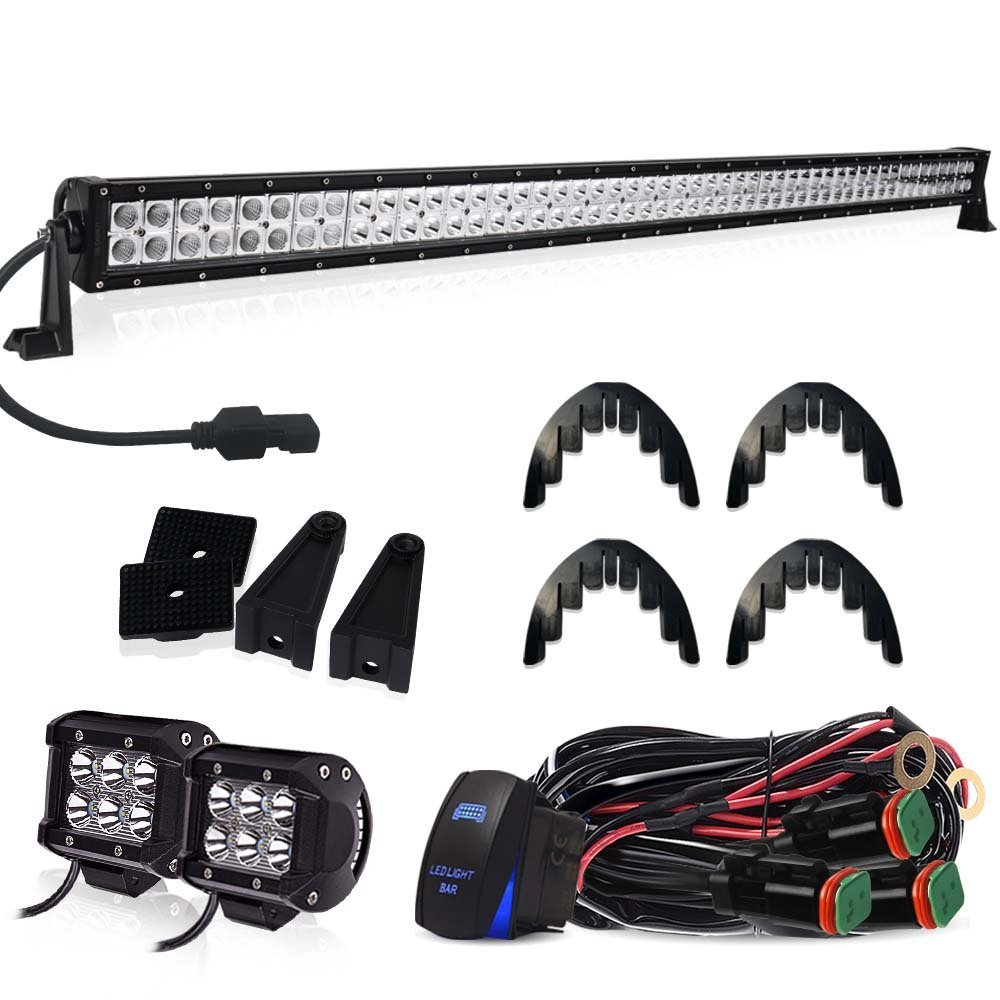 50 inch LED Light Bar TURBOSII 288W Flood Spot Combo Off Road Lights Led Work Light Bar + 4' Led Cube Light For Jeep Wrangler JK TJ Truck ATV 4X4 SxS Hummer Chevy Silverado Ford Toyota Nissan Pickup 288W18W-WIRM