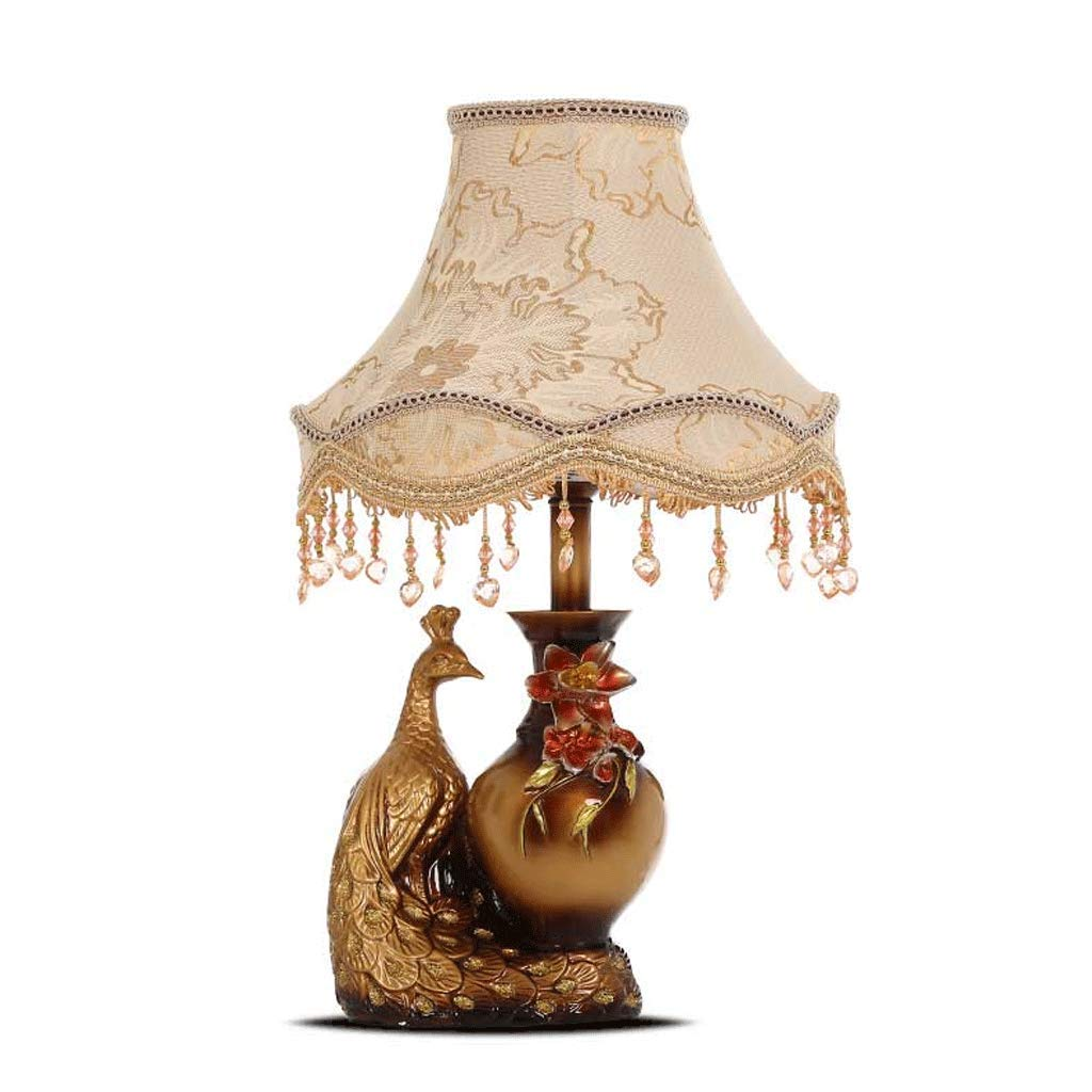 NJ Tischleuchte- Retro Tischlampe Schlafzimmer Nachttischlampe Wohnzimmer Stoff Dekoration Schreibtischlampe