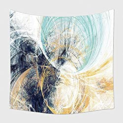Home Decor Tapestry Wall Hanging Abstract Bright Motion Composition Modern Futuristic Dynamic Background Blue White And Yellow 601665560 for Bedroom Living Room Dorm