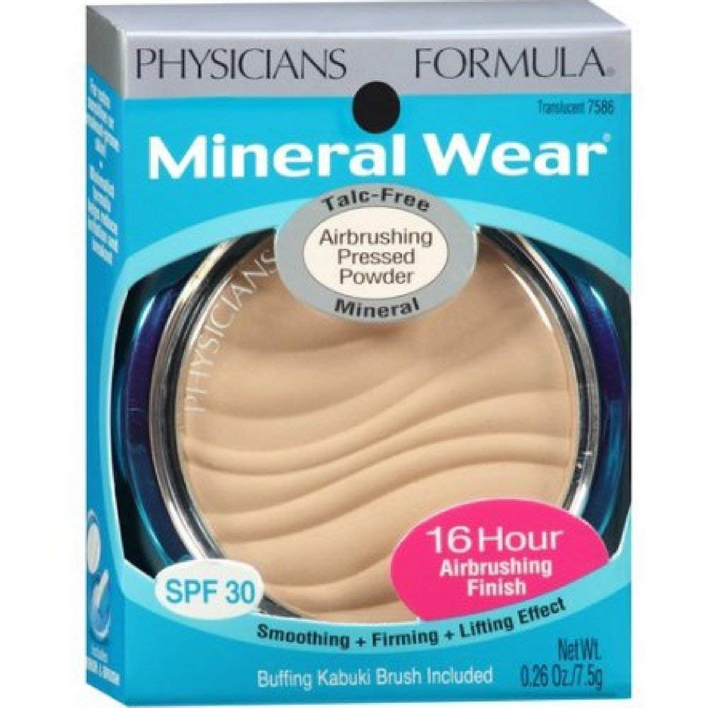 Physician's Formula Mineral Wear Airbrushing Pressed Powder SPF 30, Translucent 0.26 oz ( Pack of 2)