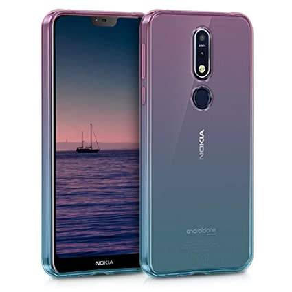 kwmobile Case for Nokia 7.1 (2018) - Clear TPU Soft Phone Cover - Bicolor Design, Dark Pink/Blue/Transparent