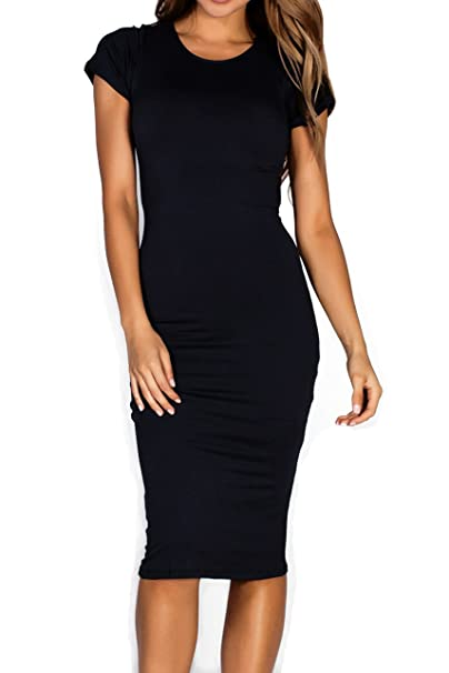 Midi bodycon dress with short sleeves