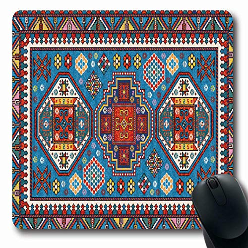 Ahawoso Mousepad Oblong 7.9x9.8 Inches Luxury Blue Pattern Mosaic Oriental Kazak Abstract Carpet Beige Boho Persian Antique White Design Office Computer Laptop Notebook Mouse Pad,Non-Slip Rubber