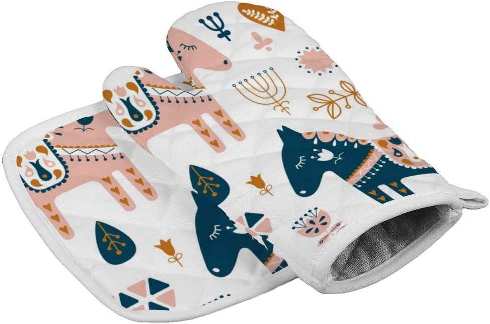 BBYSZ Sweden Dalecarlian Horse Neoprene Oven Mitts Square mat, Heat Resistant Oven Gloves to Protect Hands and Surfaces with Non-Slip Grip