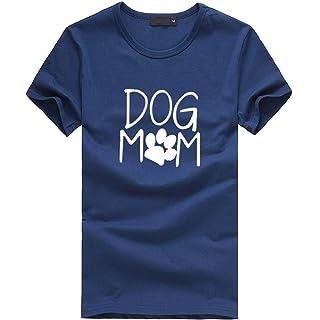 FRAUIT Tops Sueltos de Las Mujeres Manga Corta Dog Mom Camiseta Estampada Camisa Casual con Cuello En O Camiseta para Mujer Corta Camiseta Mujeres Tops