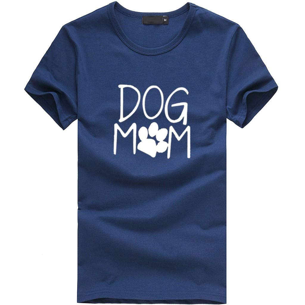 T Shirts Women,Summer Short-Sleeved Blouse Dog Mom Print Tops Casual Loose Graphic Vest Tee Dress Tunics Camis Navy