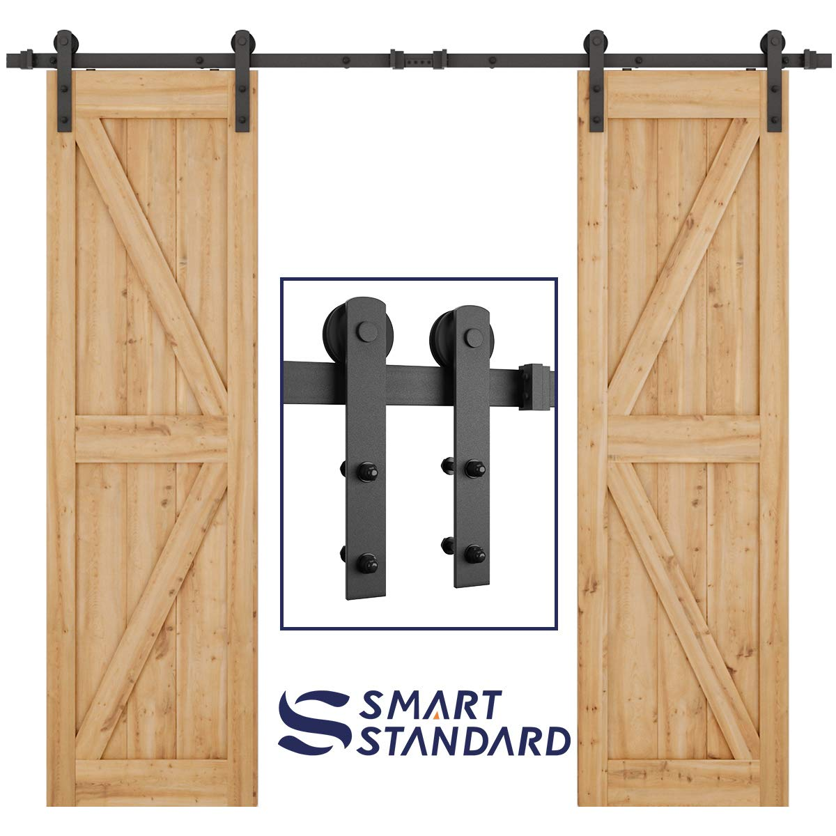 """SMARTSTANDARD 8ft Heavy Duty Double Door Sliding Barn Door Hardware Kit - Smoothly and Quietly -Easy to install - Includes Step-By-Step Installation Instruction Fit 24"""" Wide Door Panel(I Shape Hanger)"""