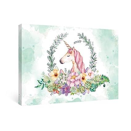 SUMGAR Wall Art For Girls Bedroom Nursery Paintings On Canvas Kids Room Prints Unicorn