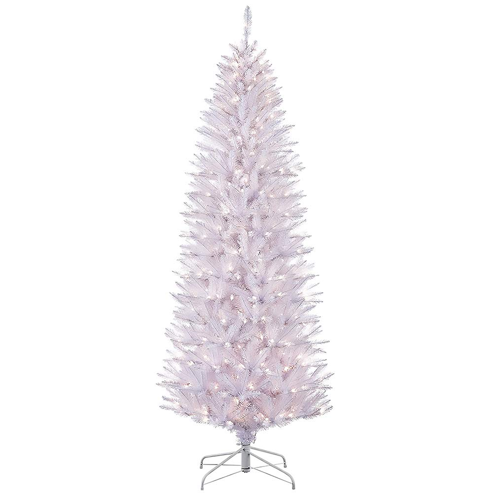 Puleo International 4.5-Foot Pre-Lit White Fraser Fir Pencil Tree, 401 Tips, 150 UL Clear Lights, Hinged, Metal Stand Artificial Christmas