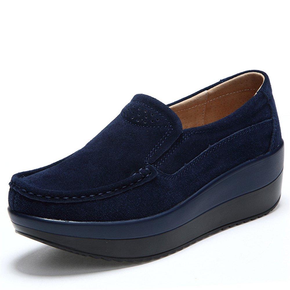Haustudo Women's Soft Toning Rocker Sole Shoes Suede Sneakers B076P1S84Z 6 B(M) US Dark Blue
