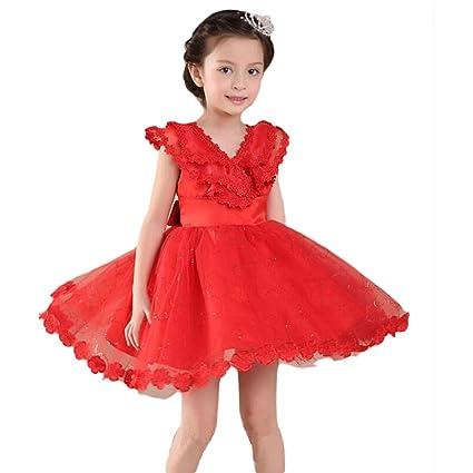Moin rojo vestido de fiesta de la boda para niñas falda de gasa de la moda
