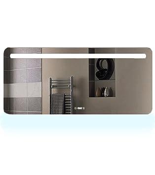EXCELUMIR Miroir LED Salle De Bains Lumière Variante Anti Buée Avec Horloge  Laura 80,