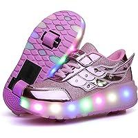 KOWO LED-skor, LED-ljus-UP-rullskor, unisex-barn, pojkar, flickor, uppladdningsbara, USB-enkelhjul, infällbara dubbla…