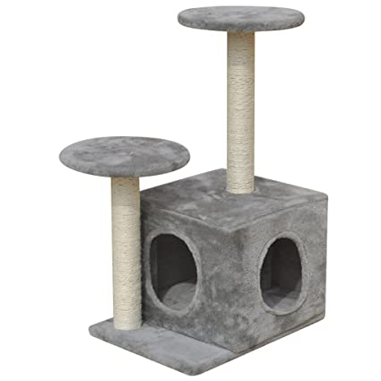 festnight Árbol para gatos 60 cm con 1 Casita Gris