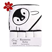 Ramees Baby Hooded Towel and Washcloths Bath Set, 5 Pack, White Penguin