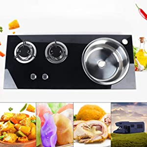 Boat Caravan RV Camper Built-in 2 Burner Stainless Steel LPG Gas Stove Hob with Tempered Glass and Sink Combo