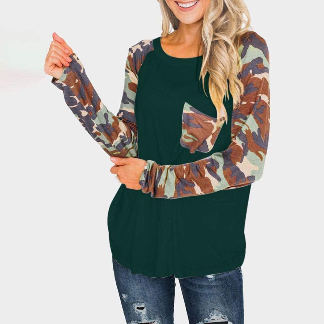 sandinged Women Long Sleeve Patchwork O Neck T-Shirt Top Knits /& Tees