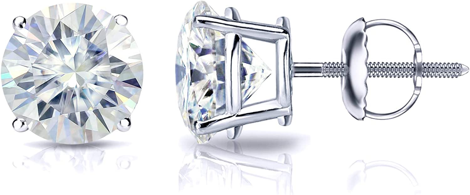 Platinum Round Moissanite Stud Earrings (1 to 7ct TGW, J-K) 4-Prong Set, Screw-Back by Diamond Wish