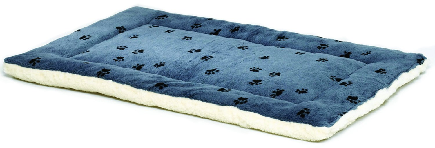 Reversible Paw Print Pet Bed in Blue / White, Dog Bed Measures 35L x 21.5W x 3.5H for Intermediate Size Dogs, Machine Wash