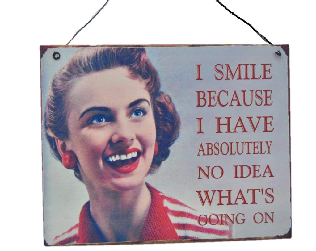 Retro Metal Wall Sign Hanging Plaque Smile No Idea Whats Going On Vintage Home