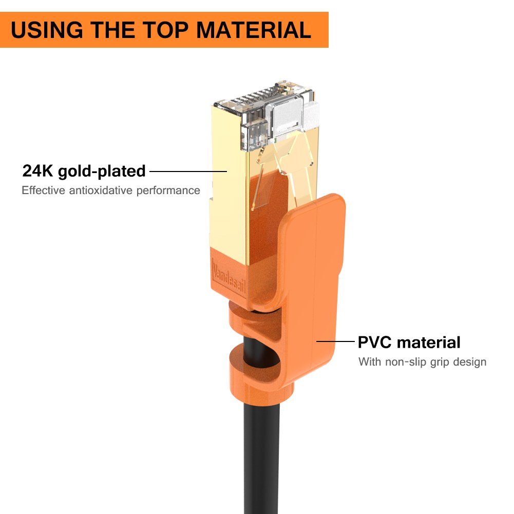 Ethernet Cable Vandesail Strengthened Premium Cat7 4m Cat5e Cat 5e Rj45 Network Patch Lan Lead Wire Shielded Sstp Cord Gold For Switch Router Modem