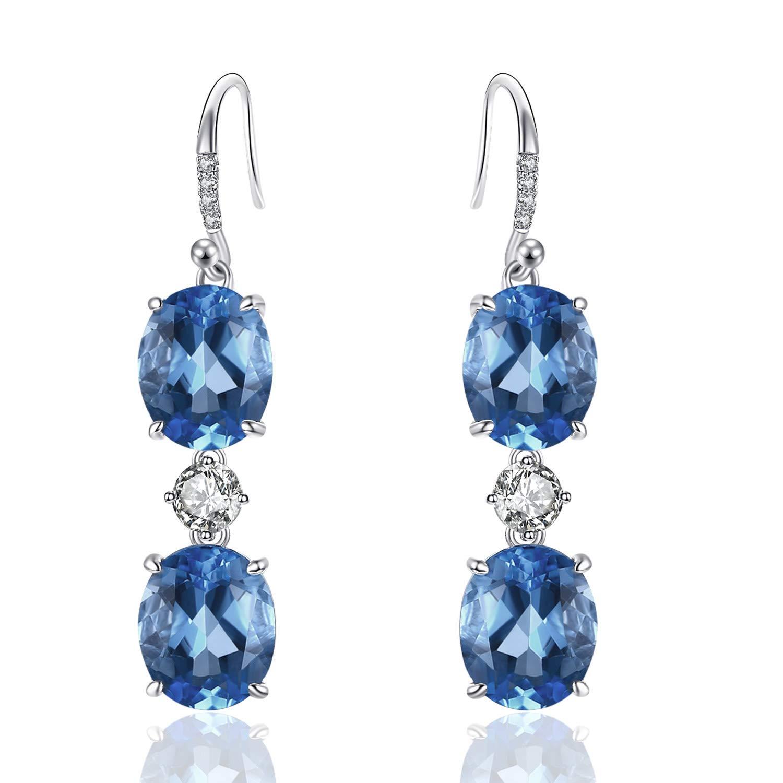 Caperci Brilliant Created Gemstone Oval Ocean Blue Sapphire Triple Drop Earrings in Sterling Silver