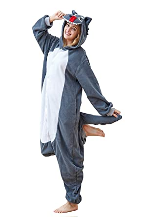 54cbdc140ecc Comfy New Grey Wolf Onesies Animal Outfits Jumpsuit Pyjamas Onesie Cosplay  Coatume for Halloween Party Small