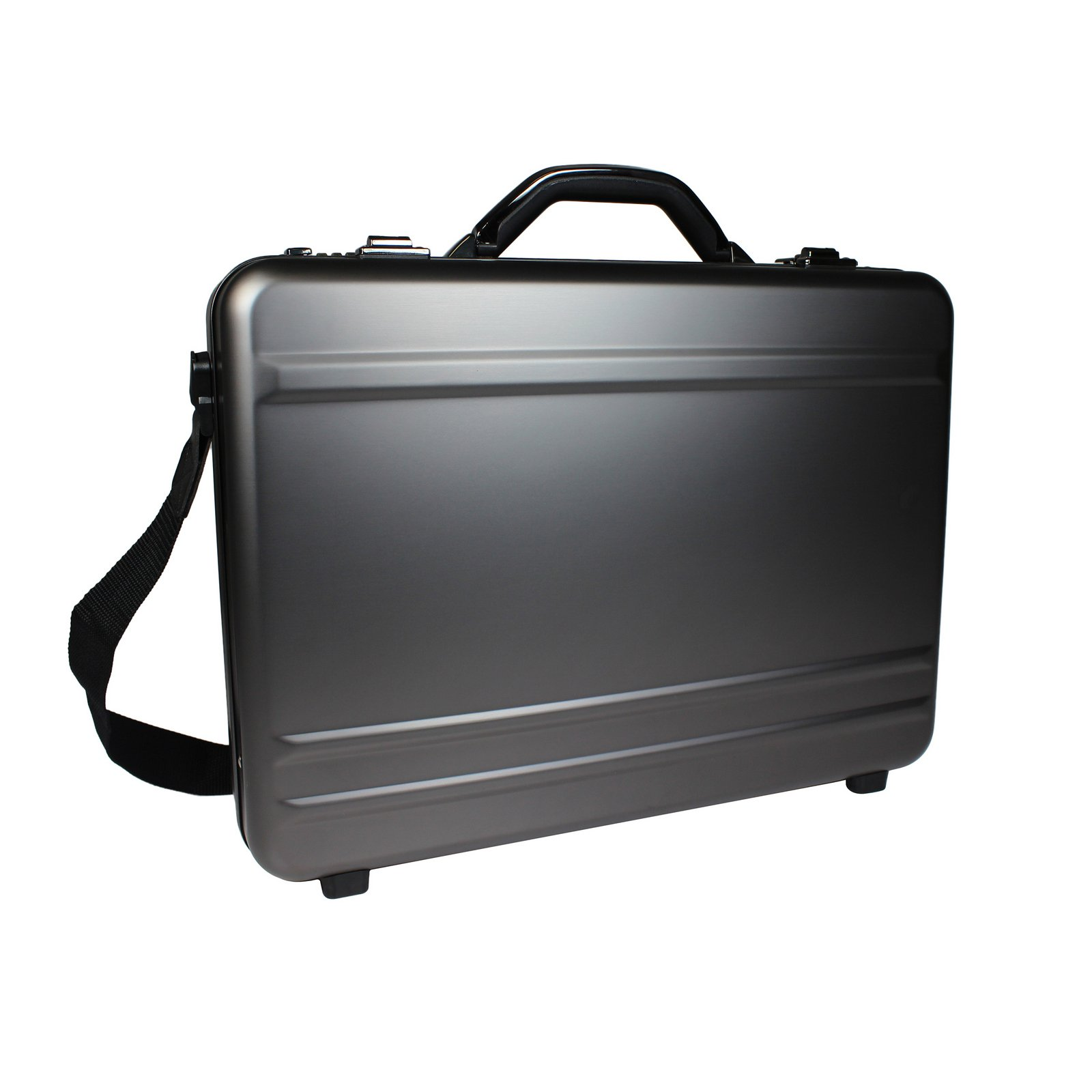 World Traveler European-Style Gun Metal Aluminum Attache Case Laptop Briefcase, Silver, One Size