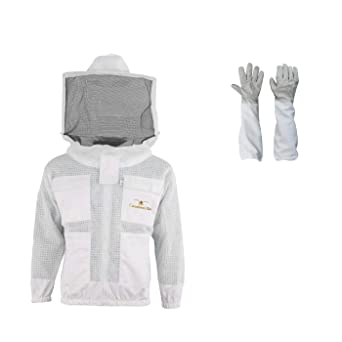 Professional Three Layer Bee Ultra Ventilated Round Veil Beekeeping Suit L
