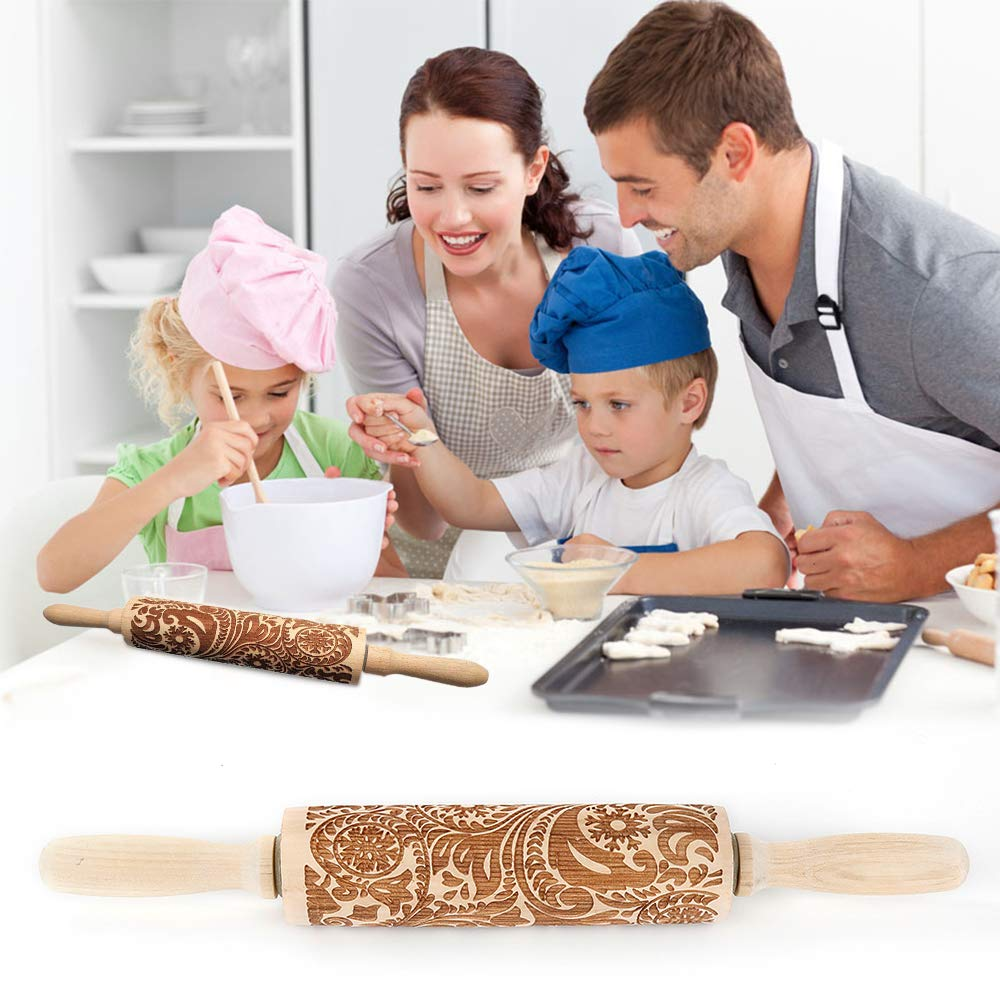 MINGRONG Embossed Rolling Pin 14//16 Engraved Rolling Pin for Baking for Kids and Adults to Make Cookie Dough