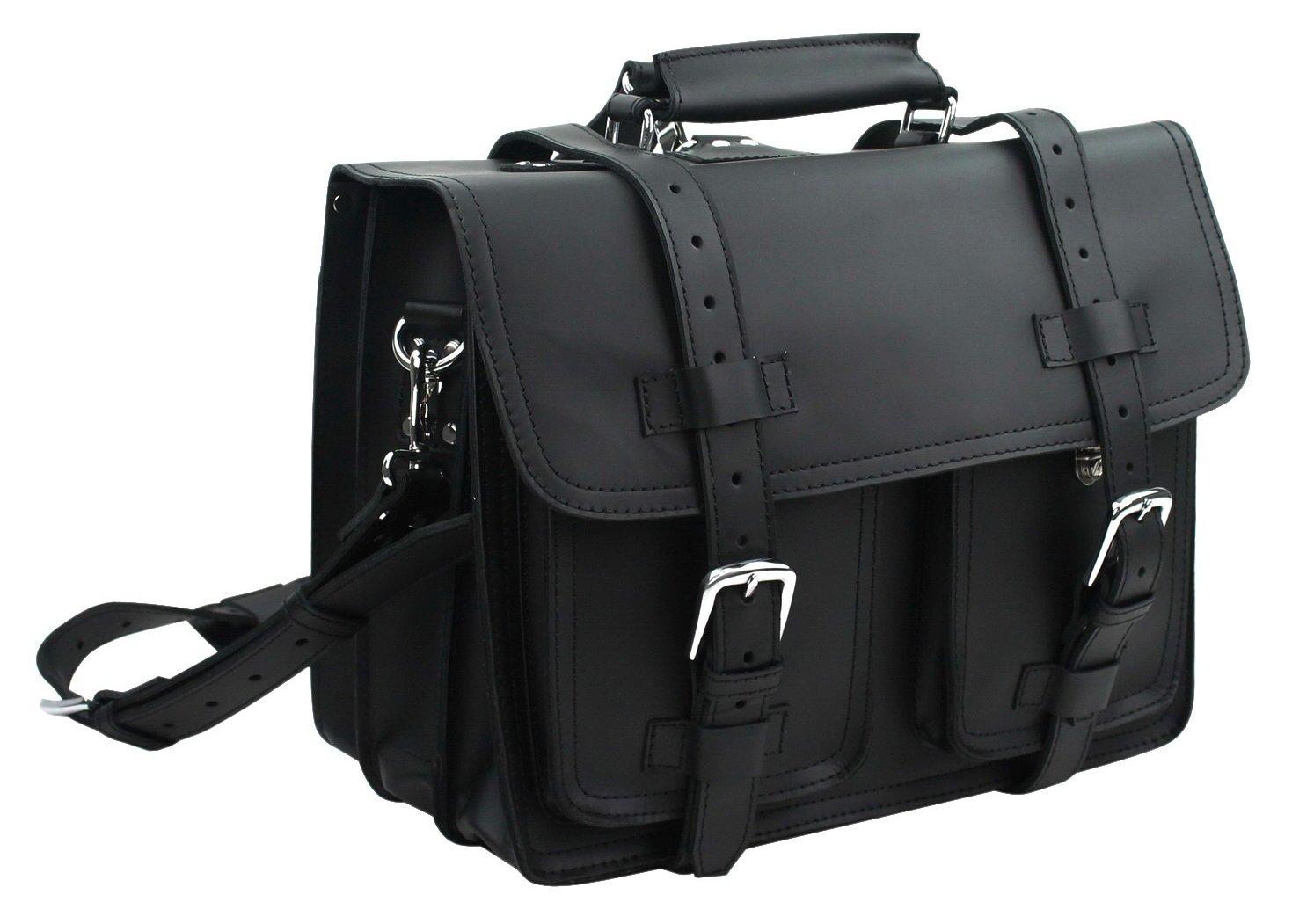 Vagabond Traveler 16'' C.E.O.Heavy Duty Classic Leather Briefcase Backpack (Heavy 9LB) L02. Black
