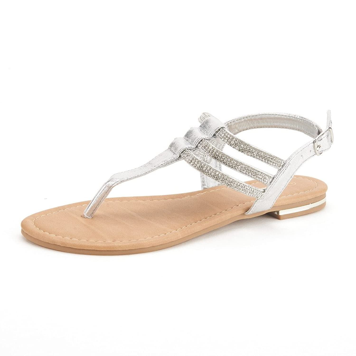 f7e400b7eed DREAM PAIRS Estelle Women s Casual Strappy RhinestonesThong Buckle Strap  Gladiator Flat Sandals
