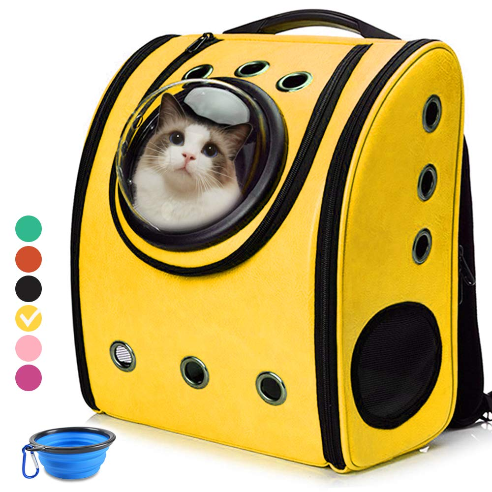 Cat Backpack Carriers, Cat Dog Bubble Backpack, Aukor Pet Carriers for Puppy Petite Dogs and Cats, Ventilated Cat Carrier Airline-Approved for Travel, Hiking, Walking, Outdoor Use, Yellow