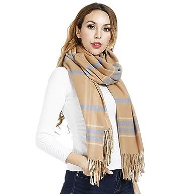 ee15c2c4fc86 Écharpes à rayures pour femme hommes, longue foulards d hiver épais, cadeau  de