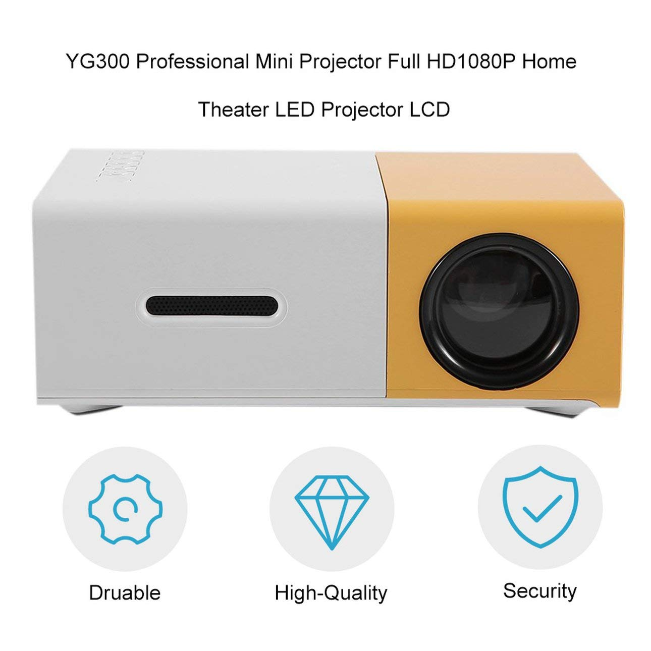 Ballylelly Mini proyector profesional YG300 Full HD1080P Proyector ...