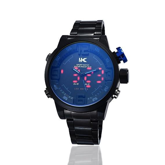 Yaki Diseño Hombre Relojes Digital Analog Reloj de pulsera hombre Quartz Reloj Deportivo Multi Función Alarma de pantalla LED azul acero: Amazon.es: Relojes