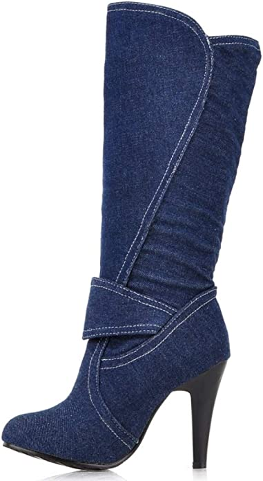 Hoxekle Denim Women Over The Knee High Boots All Match Platfrom Square Heel Elegant Blue Fashion Women Boots
