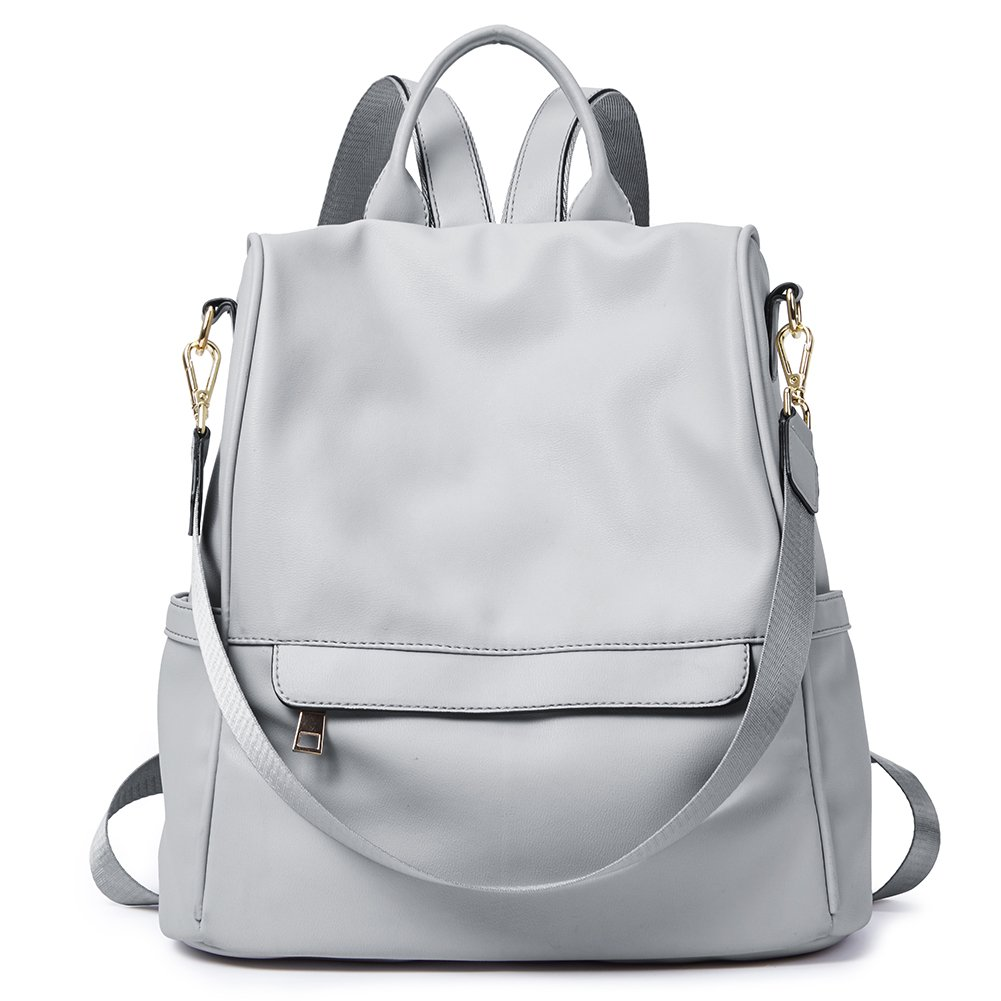 Womens Backpacks Purse Fashion PU Leather Anti-theft Large Travel Bag Ladies Shoulder School Bags gray