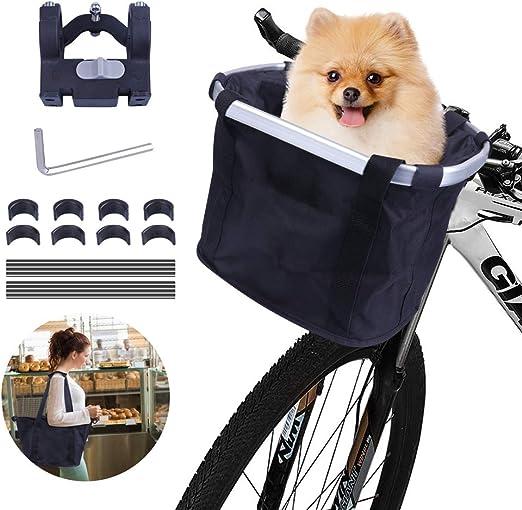 Vikaster Cesta Bicicleta Delantera Desmontable,Cesta Plegable para Bicicletas Bolsa de Transporte de Mascotas con Marco de Aleación de Aluminio Cesta Bici para Perros Gatos,Bolsa de Compras Ecológica: Amazon.es: Productos para mascotas