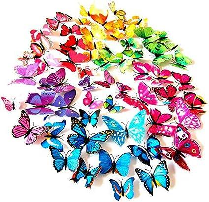 Foonii® 108 Piezas 3D Mariposa Pegatinas de Pared Etiquetas Engomadas Mariposas Decoración de la Pared Para Hogar Casa Habitación (12 Rojo,Azul, Amarillo,Verde,Rosa,Color, blanco, Realista, Púrpura)