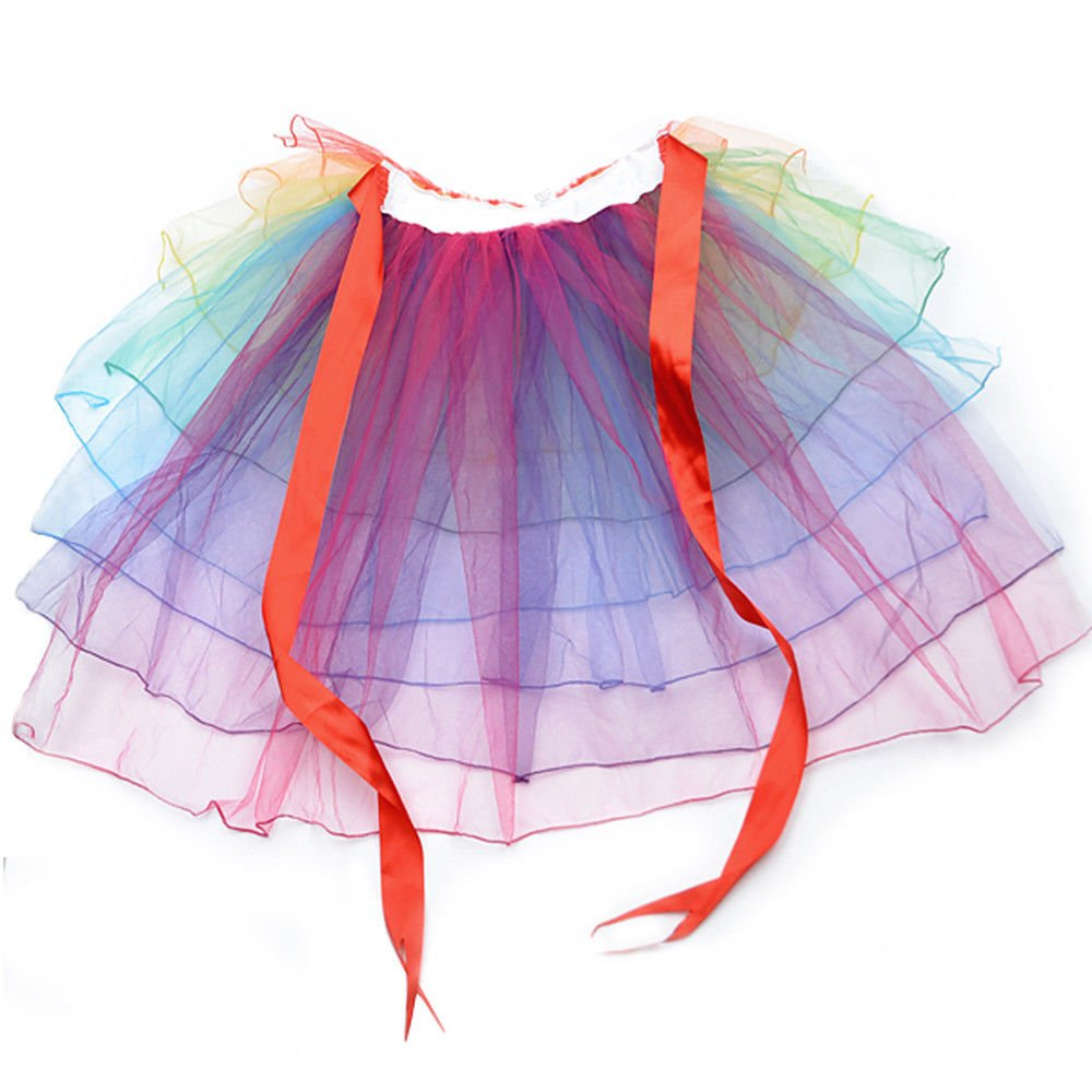 6de345e08 Arco iris Tutú Arco iris Color Bullicio Falda De las mujeres Acodado ...
