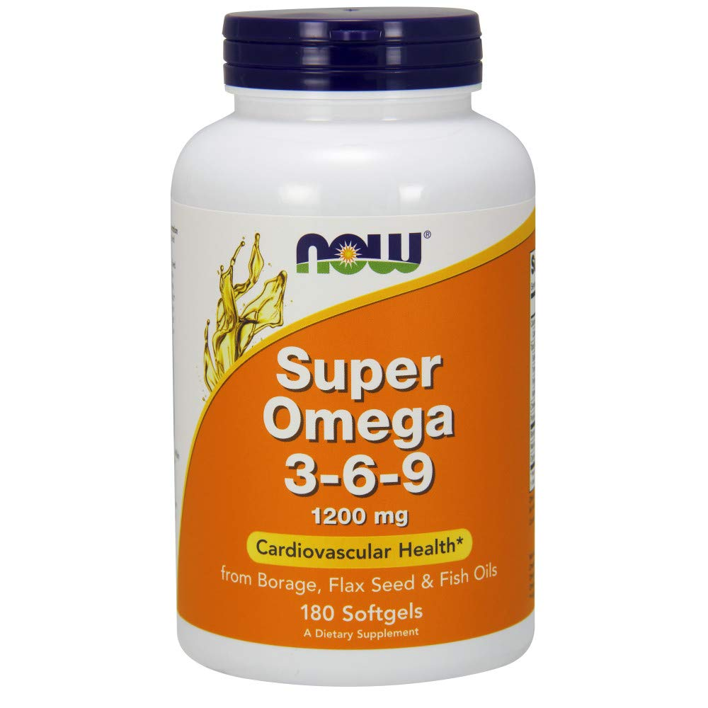 Now Supplements, Super Omega 3-6-9 1200 mg with a Blend of Fish, Borage and Flax Seed Oils, 180 Softgels by NOW Foods