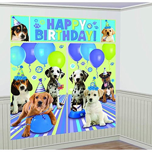 Adorable Party Pups Scene Setter Decoration, Plastic, 6', Pack of 5 -