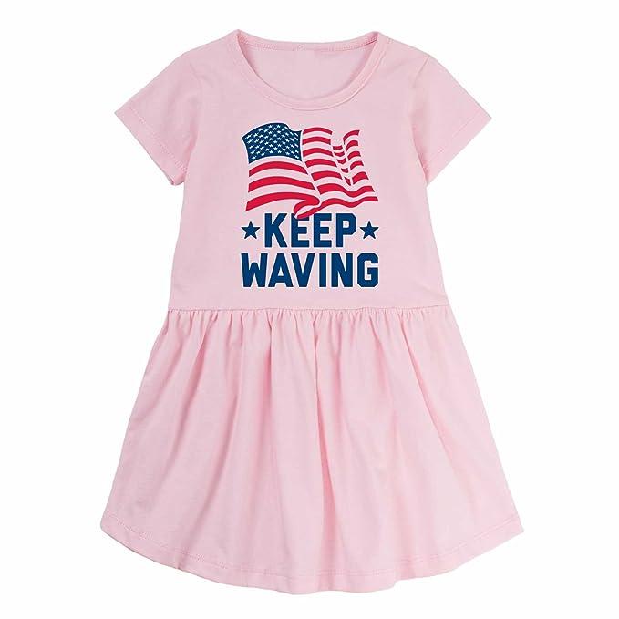 Instant Message Keep Waving - Toddler Girl T-Shirt Dress W Gathered Waist  Light 858792a2b473